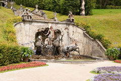 Cascade with Neptune fountain in Linderhof. Park (Bavaria, Germany). Linderhof Palace was one of the three palaces built by King Ludwig II of Bavaria Stock Photo