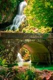 Cascade of Orbaneja del Castillo in spring Royalty Free Stock Image