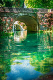 Cascade of Orbaneja del Castillo in spring Royalty Free Stock Photography