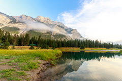 Cascade Pond. In the morning, in Baff National Park, Alberta Canada Stock Image