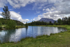 Cascade Ponds. Near Banff in Banff National Park Canada. These picturesque ponds are surrounded by the Rocky Mountains. Mount Rundle is in the background Stock Image