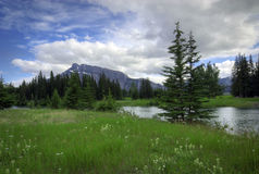 Cascade Ponds. Near Banff in Banff National Park Canada. These picturesque ponds are surrounded by the Rocky Mountains. Mount Rundle is in the background stock photo