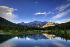 Cascade Ponds. Reflections in the water at Cascade Ponds near Banff in Banff National Park Canada. These picturesque ponds are surrounded by the Rocky Mountains stock images