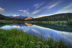 Cascade Ponds. Near Banff in Banff National Park Canada. These picturesque ponds are surrounded by the Rocky Mountains Stock Images