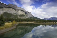 Cascade Ponds Reflections. Reflective and picturesque Cascade Ponds just outside of Banff, in Banff National Park, Canadian Rockies, Alberta, Canada Royalty Free Stock Photo