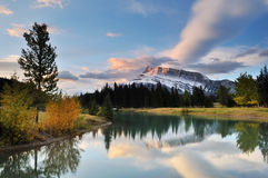 Cascade Ponds sunrise. Banff National Park stock image