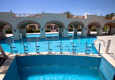 Cascade pool with blue water at the hotel in Egypt Stock Images