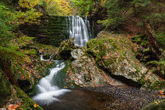 Cascade on the river. Autumn scenery with small cascade on the river Royalty Free Stock Image
