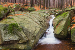 Cascade on the river in Bohemia Royalty Free Stock Image