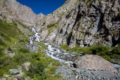 Cascade of river in Kirgizstan Stock Photo