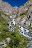 Cascade river in mountains of Tien Shan Stock Photo