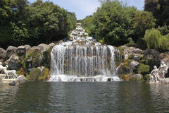 Cascade - Royal Palace and Gardens - Caserta. The garden of Caserta Royal Palace, a typical example of the baroque extension of formal vistas, stretch for 120 ha Royalty Free Stock Photo