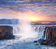 Cascade of Selfoss waterfall in Iceland Royalty Free Stock Image