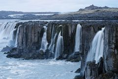 Cascade of Selfoss waterfall in Iceland. Selfoss waterfall. Beauty of the world. Wonderful landscape in Iceland. Famous Tourist Attraction Royalty Free Stock Photos