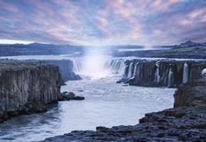 Cascade of Selfoss waterfall in Iceland. Selfoss waterfall. Beauty of the world. Wonderful landscape in Iceland. Famous Tourist Attraction Royalty Free Stock Image