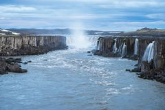 Cascade of Selfoss waterfall in Iceland. Selfoss waterfall. Wonderful landscape in Iceland. Famous Tourist Attraction Royalty Free Stock Images