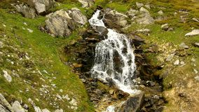 Cascade on small mountain stream in Alps, water is running over stones in green meadow Stock Photos