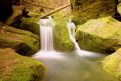 Cascade on small mountain stream. Cold crystal  water is falling over basalt mossy boulders into small pool. Stock Image