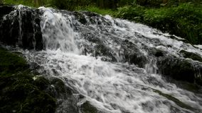 Cascade on small mountain stream, water is running stock video footage