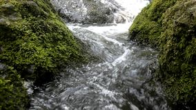 Cascade on small mountain stream, water is running Stock Photo