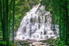cascade, St Clair National Park, TAS de lac mountain de berceau , Au images libres de droits