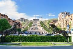 The Cascade stairway, Yerevan, Armenia. YEREVAN, ARMENIA - MAY 02, 2015: The Cascade is a giant stairway and one of main landmarks in city. The exterior of royalty free stock photo