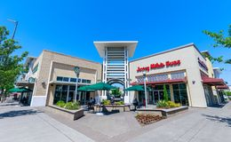 Cascade Station, Shopping center in Portland, Oregon. Portland, Oregon - May 14, 2018 : Cascade Station Outlet, which is a mixed-use development of a shopping royalty free stock images