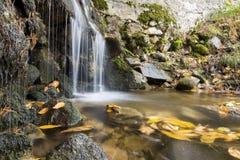 Cascade sur la rivière de montagne en automne Image stock