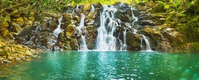 Cascade Vacoas waterfall. Mauritius. Panorama. Scenic Cascade Vacoas waterfall. Mauritius island. Panorama stock image