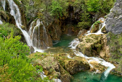 Cascade watefalls with deep blue water. In plitvice national park, croatia Stock Image