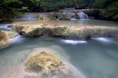 Cascade waterfall in Erawan Royalty Free Stock Photography