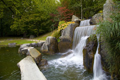 Cascade waterfall in Japanese Garden. Hasselt, Belgium Stock Images