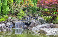 Cascade waterfall in Japanese garden in Bonn Royalty Free Stock Photo
