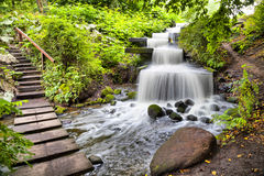 Cascade waterfall in Planten un Blomen park in Hamburg Stock Images