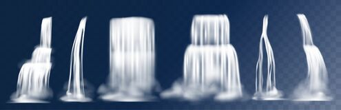 Free Cascade Waterfall. Realistic 3D Falling Mountain Streams With Fog, Water Flow With Splashes. Vector Waterfalls Isolated Royalty Free Stock Images - 174212829
