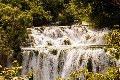 Cascade of waterfalls in the forest, Krka national park, Croatia Royalty Free Stock Photo