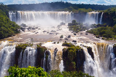 Cascade of waterfalls. Iguassu falls or Iguazu Falls in Brazil Stock Images