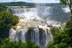 Cascade of waterfalls. Iguassu falls or Iguazu Falls in Brazil w Royalty Free Stock Image