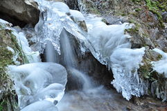Cascade in winter, frozen waterfall, Frozen fall Royalty Free Stock Images