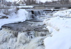 Cascade of winter waterfalls  in small town Royalty Free Stock Photography