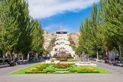 The Cascade, Yerevan. YEREVAN, ARMENIA - SEPTEMBER 28, 2015: The Cascade is a giant stairway in Yerevan, Armenia Royalty Free Stock Photo