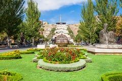 The Cascade, Yerevan. YEREVAN, ARMENIA - SEPTEMBER 28, 2015: The Cascade is a giant stairway in Yerevan, Armenia. Inside Cascade is located the Cafesjian Museum Royalty Free Stock Image