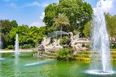 Cascadefontein in Ciutadella-park, Barcelona, Spanje royalty-vrije stock foto's