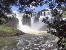 Cascades à écriture ligne par ligne d'Iguassu en cadre du Brésil Argentine Photos stock