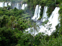 Cascades à écriture ligne par ligne d'Iguazu Photo libre de droits