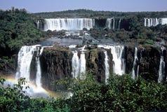 cascades à écriture ligne par ligne d'iguazu du Brésil image stock