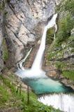 Cascades à écriture ligne par ligne de Savica, vitesse d'obturateur lente photo stock