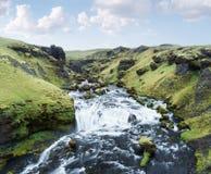 Cascades de la rivière de Skoga, Islande Images libres de droits