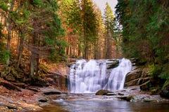 Cascades de Mumlava en automne Image libre de droits