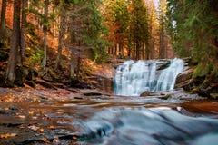 Cascades de Mumlava en automne Images libres de droits
